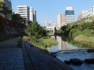 清渓川に残る高架道の橋柱